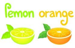 Zitrone und orange Karte Stockbild