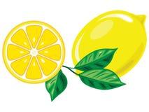 Zitrone und seine Scheiben mit den Blättern lokalisiert auf weißem Hintergrund stock abbildung