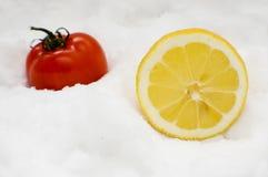 Zitrone und Tomate im Schnee Stockfotografie