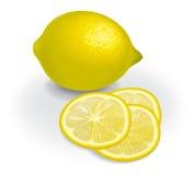 Zitrone und transparente Scheiben Stockfotos