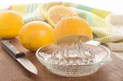 Zitrone wird auf einem Zitronenquetscher zusammengedrückt stockfoto