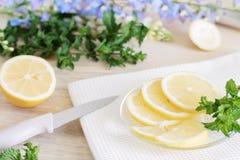 Zitrone wird in Scheiben, der Prozess des Kochens von Zitronengerichten, saftige Stücke tropische Früchte, diätetische Früchte, g stockbild