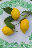 Zitronen auf keramischem Tabellenmuster Stockbilder