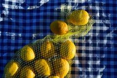 Zitronen in der gelben Nettotasche Stockfoto