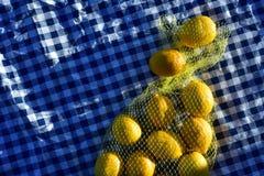 Zitronen in der gelben Nettotasche Lizenzfreie Stockbilder