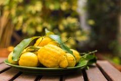 Zitronen in einer grünen Schüssel auf einem Holztisch Lizenzfreies Stockfoto