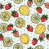 Zitronen-Erdbeersommer-Frucht-Illustrations-Muster-Vektor Lizenzfreies Stockbild