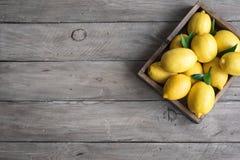 Zitronen im Kasten lizenzfreie stockfotos