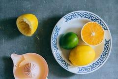 Zitronen, Kalk, orange in einer weißen keramischen Platte Stockfoto