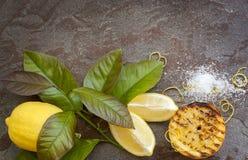 Zitronen-Lebensmittel-Hintergrund Stockfotos