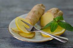 Zitronen, Minze und Ingwer auf Holztisch stockbild
