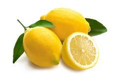 Zitronen mit Blättern auf einem weißen Hintergrund Stockfoto