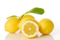 Zitronen und Blätter Stockfotografie