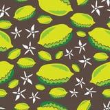 Zitronen und Blume-Frucht erfreuen nahtlose Wiederholungs-Musterillustration Hintergrund im Gelbgrün braun und weiß stock abbildung