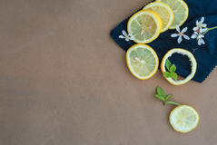 Zitronen und Blumen mit Kopien-Raum Stockfotografie