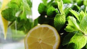 Zitronen- und Minzengetränk stock video