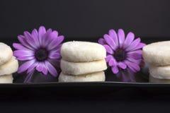 Zitronen-und Vanille-Keks-Plätzchen überzogen auf schwarzem keramischem und stockfoto