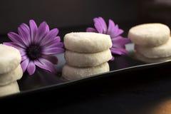 Zitronen-und Vanille-Keks-Plätzchen überzogen auf schwarzem keramischem und stockbild