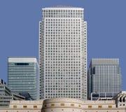 Zitronengelbe Docklands London Kai der Büroblöcke Stockbild