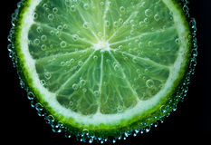 Zitronenkalk in den Blasen Stockfoto