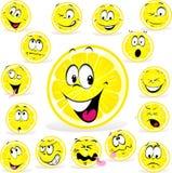 Zitronenkarikatur mit vielen Ausdrücken Lizenzfreie Stockfotos