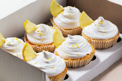 Zitronenkleine kuchen mit weißer Creme und Scheibe der Zitrone Lizenzfreie Stockfotografie