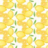 Zitronenmuster auf weißem Hintergrund Stockfotos