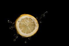 Zitronenscheibe auf einem schwarzen Hintergrund Stockbilder