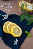 Zitronenscheiben auf einem blauen Stoff Stockfotografie