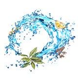 Zitronenscheiben und -tee mit Wasserspritzen Aquarellillustration auf weißem Hintergrund Stockfotografie