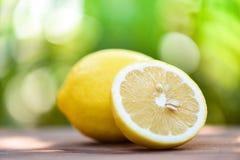 Zitronenscheibenabschluß oben und Zitronenfruchtsommernaturhintergrund lizenzfreies stockfoto