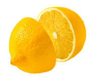 Zitronenschnitt zur Hälfte lokalisiert auf weißem Hintergrund Stockfotografie