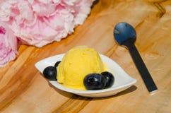 Zitronensorbet mit Blaubeeren Stockfoto