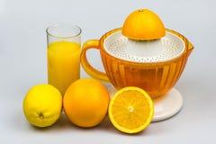 Zitrusfrucht Juicer auf einem weißen Hintergrund Stockfotos