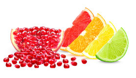 Zitrusfrucht und Granatapfel Stockfotos