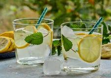 Zitrusfruchtlimonade mit Minze und Eis stockfoto