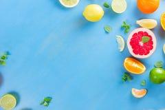 Zitrusfruchtmuster auf Blau stockbilder