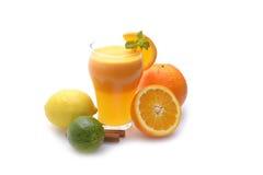 Zitrusfruchtsaft und -früchte lokalisiert auf weißem Hintergrund Stockfoto