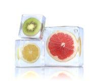 Zitrusfruchtscheiben in den Eiswürfeln. Lizenzfreies Stockbild