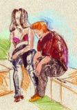 Zittende jonge man en vrouw Stock Afbeeldingen