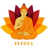 Zitting Boedha over de achtergrond van de lotusbloembloem Hand getrokken vector Stock Fotografie