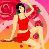 Zitting Showgirl Royalty-vrije Stock Fotografie
