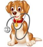 Zitting van de beeldverhaal de grappige hond met stethoscoop Stock Afbeelding