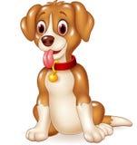 Zitting van de beeldverhaal de grappige hond met uit tong Royalty-vrije Stock Foto's