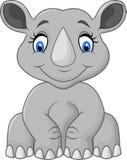 Zitting van de beeldverhaal de leuke rinoceros Royalty-vrije Stock Foto