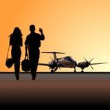 Zivilgebrauchsflugzeuge am Flughafen Stockfotografie