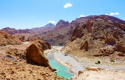 Ziz River in the Atlas Mountains of Morocco. The Ziz river flowing through the Middle Atlas mountains in Morocco, Africa stock image