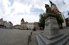 Zizka& x27; s历史的正方形在塔博尔,捷克共和国 免版税库存图片