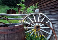 zjadłam wagon wheel barrel obraz stock