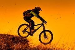 Zjazdowy roweru górskiego jeździec przy zmierzchem Zdjęcia Stock